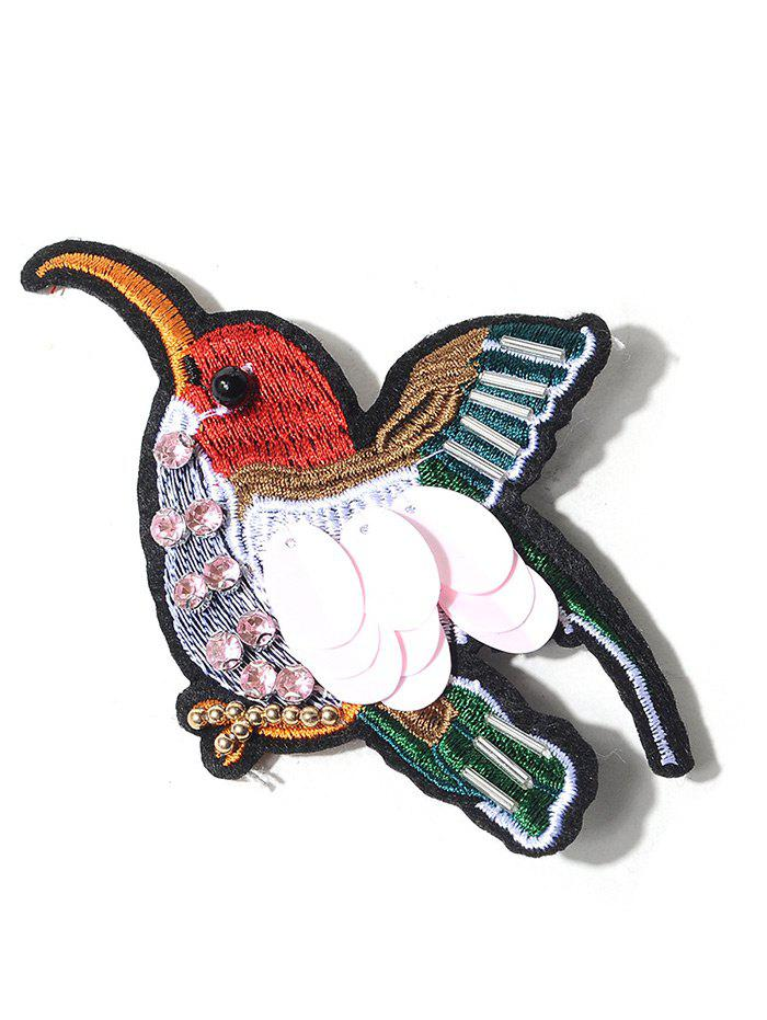 Rhinestone Bird Embroidery Brooch - COLORMIX