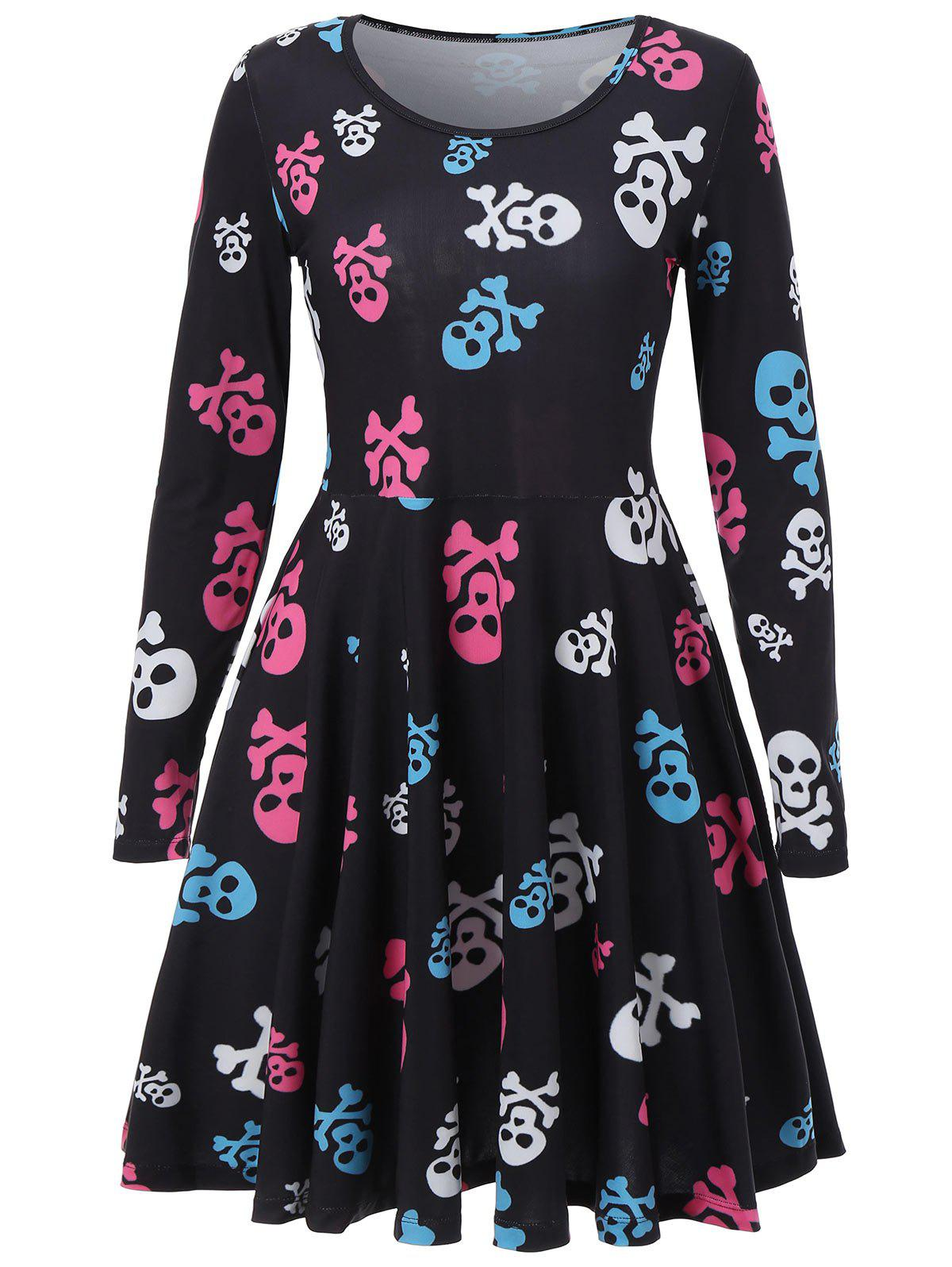 Skull Print Halloween Skater Dress - BLACK XL