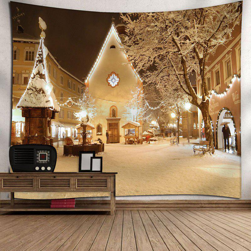 Christmas Town Snowscape Wall Decor Tapestry - YELLOW W79 INCH * L59 INCH