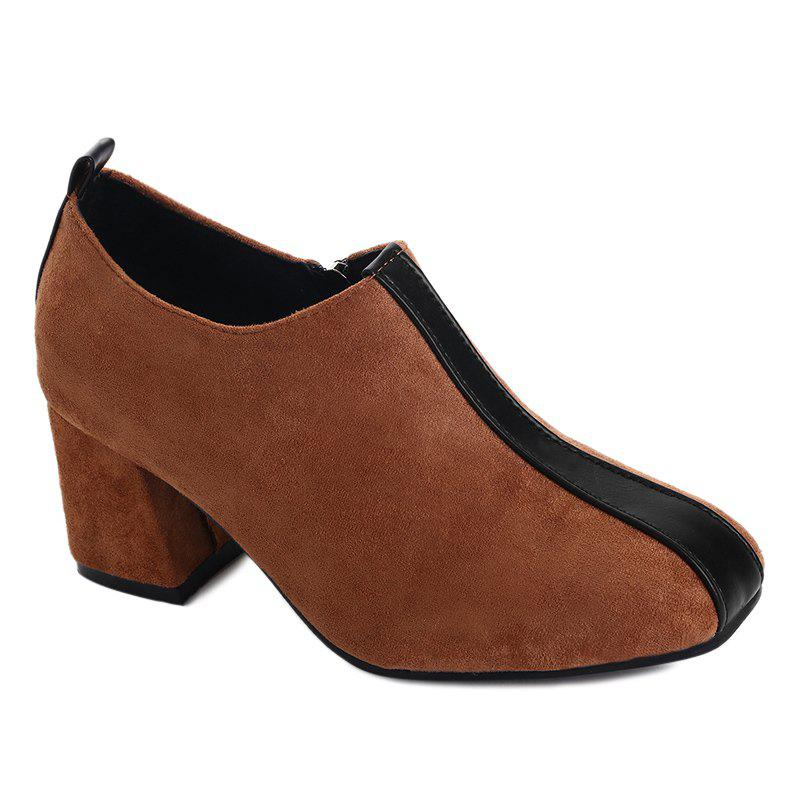 Ankle Square Toe Color Block Pumps - BROWN 38