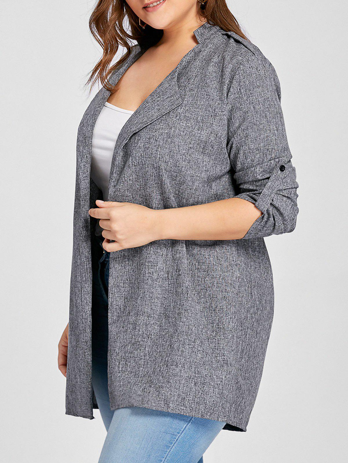 Plus Size Open Front Lapel Coat - GRAY 3XL