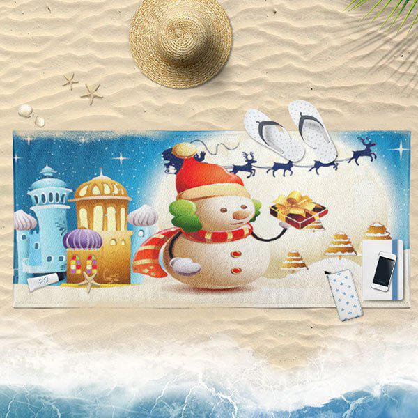 Christmas Castle Snowman Bath Towel - SKY BLUE 75CM*150CM