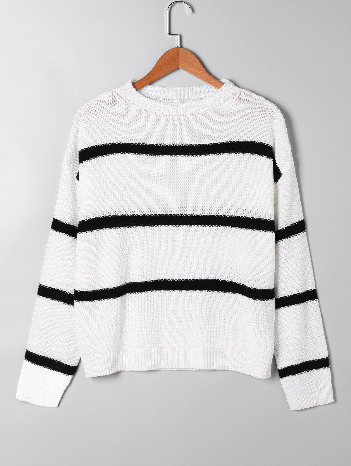 Open Knit Two Tone Sweater - WHITE S