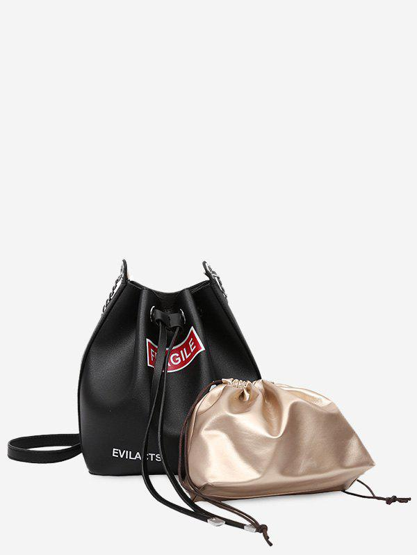 Letter PU Leather Drawstring Crossbody Bag Set - BLACK