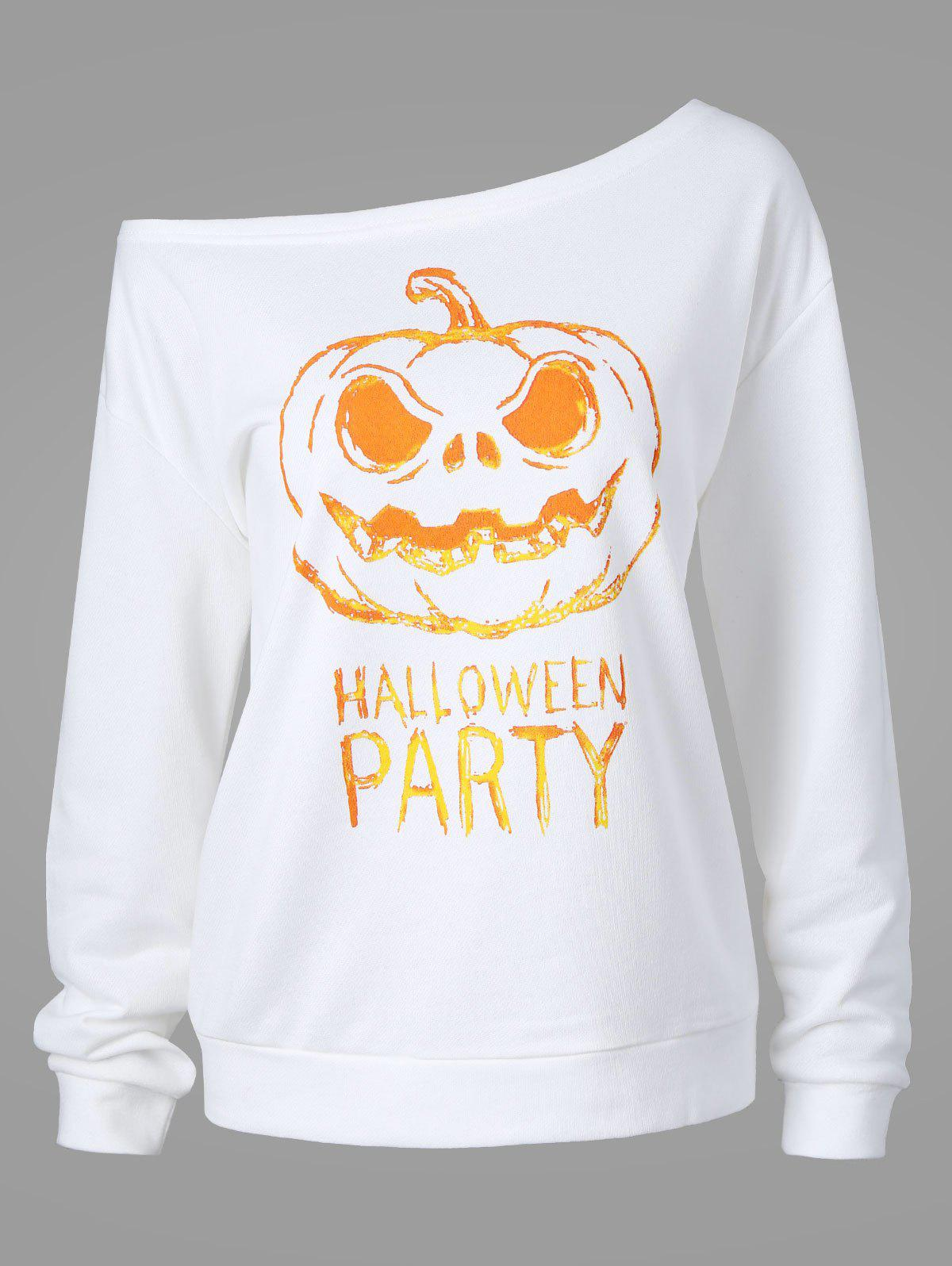 Plus Size Happy Halloween Skew Neck Sweatshirt - WHITE XL