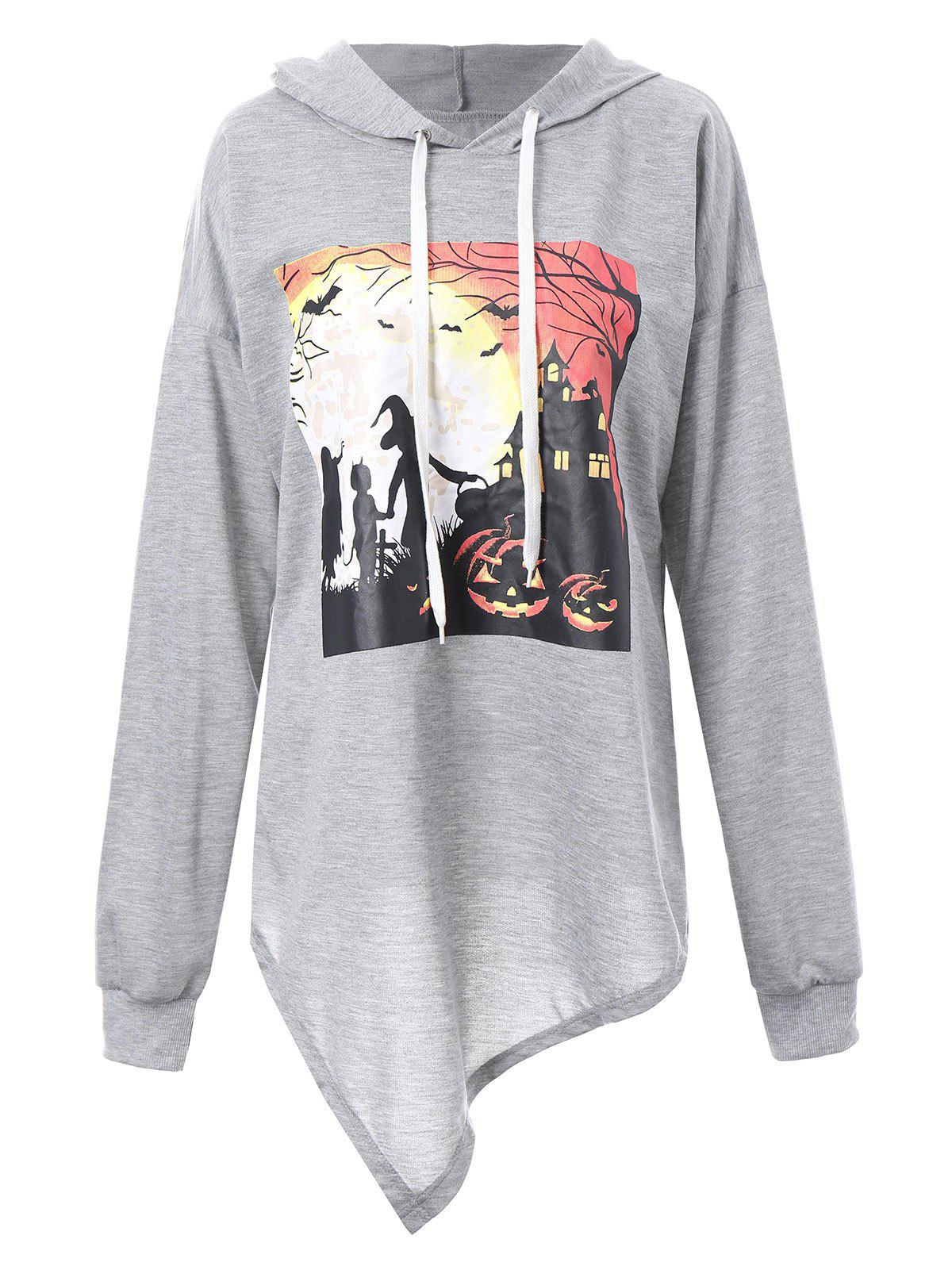 Plus Size Halloween Night Asymmetric Hoodie - GRAY 2XL