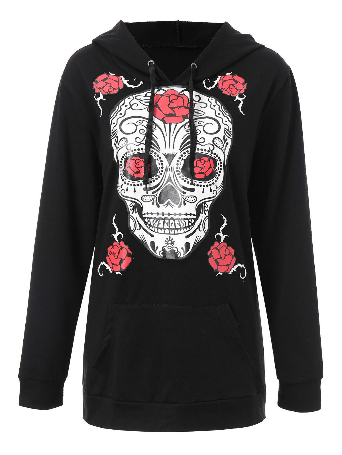 Plus Size Halloween Skull Floral Graphic Hoodie - BLACK XL
