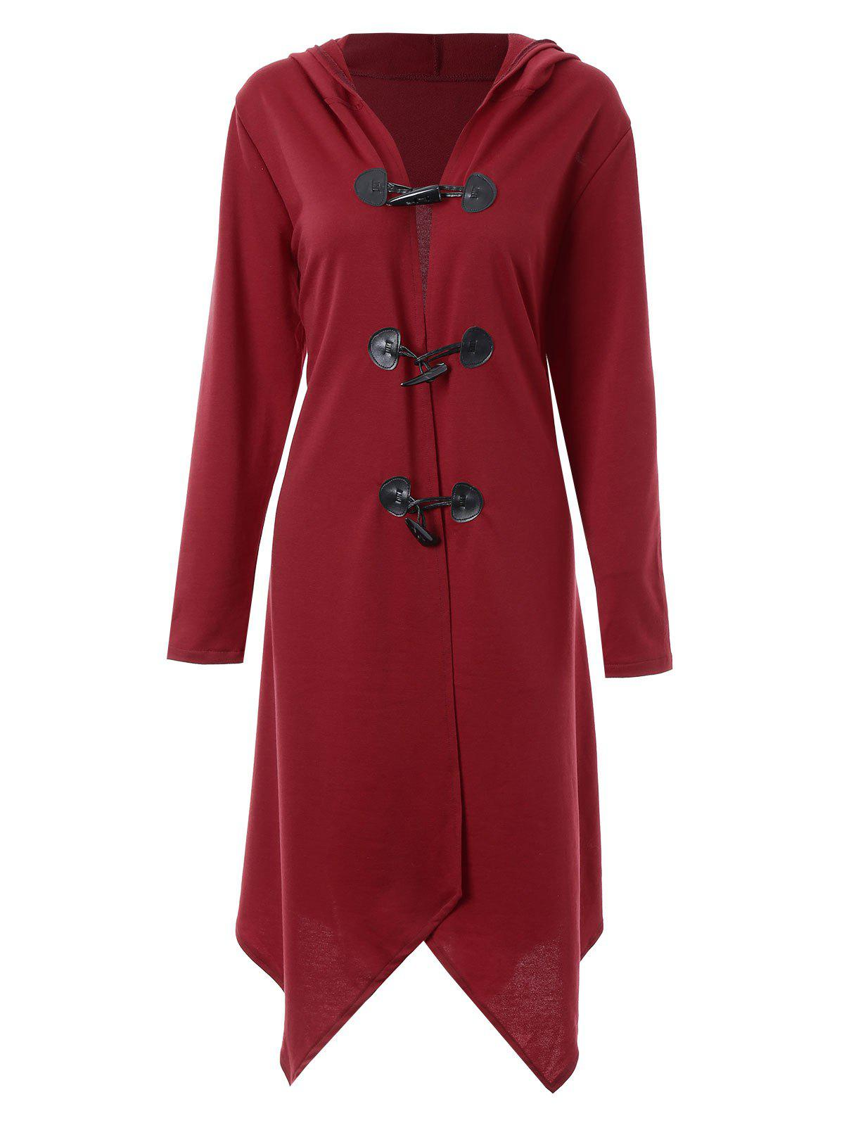 Plus Size Asymmetric Long Duffle Cloak Coat - WINE RED 3XL