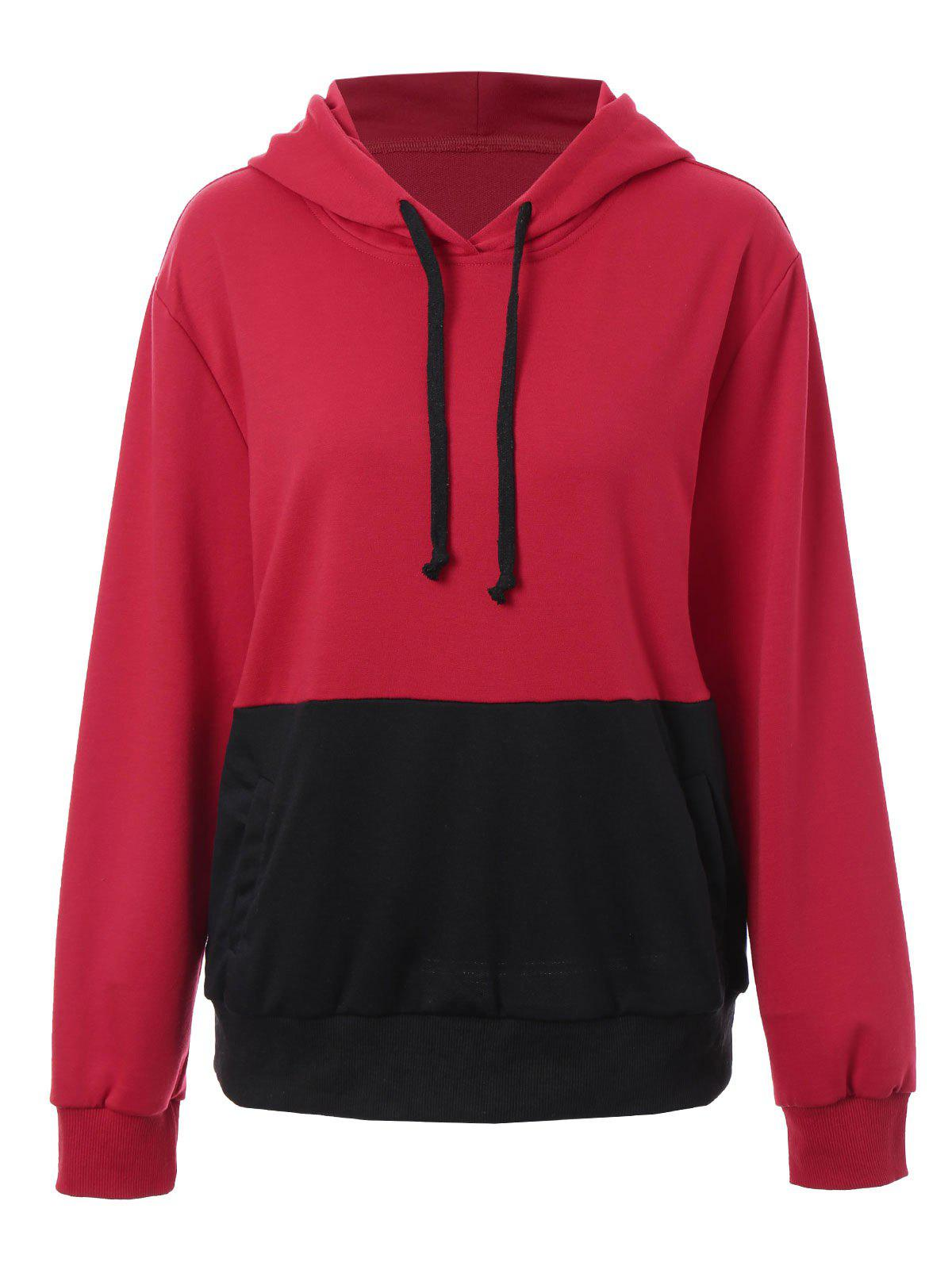 Plus Size Color Block Kangaroo Pocket Hoodie - RED 5XL