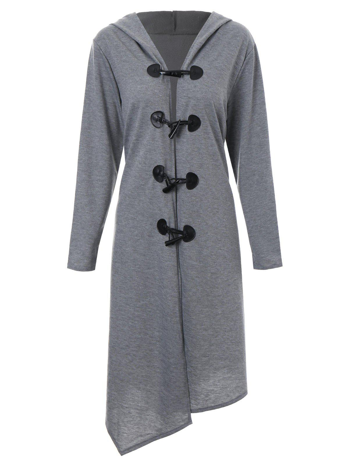 Plus Size Asymmetric Long Duffle Cloak Coat - GRAY 2XL