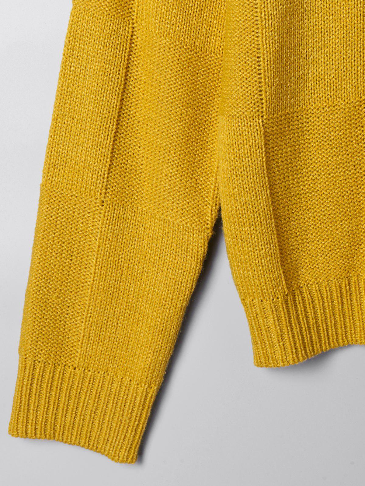 Two Tone Open Knit Sweater - WHITE/YELLOW M