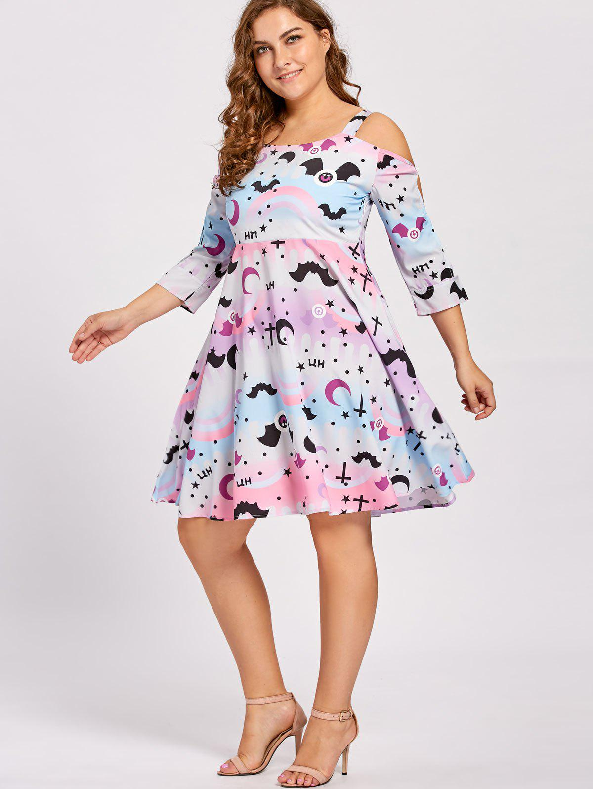Plus Size Cutout Shoulder Vintage Halloween Party Dress - PINK 3XL