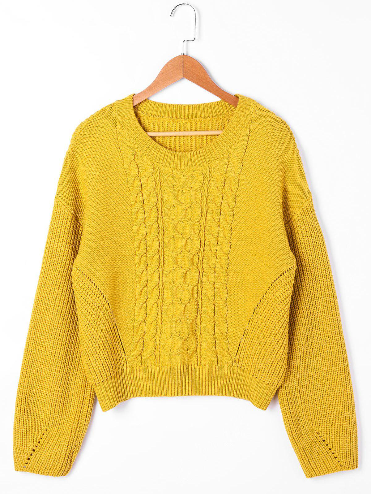 Drop Shoulder Ribbed Cable Knit Sweater 227553403