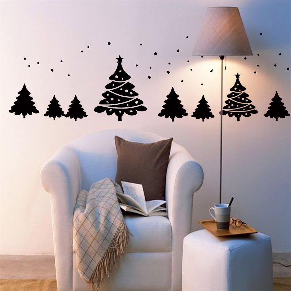 Christmas Tree Pattern Wall Art Sticker - BLACK 56*31CM