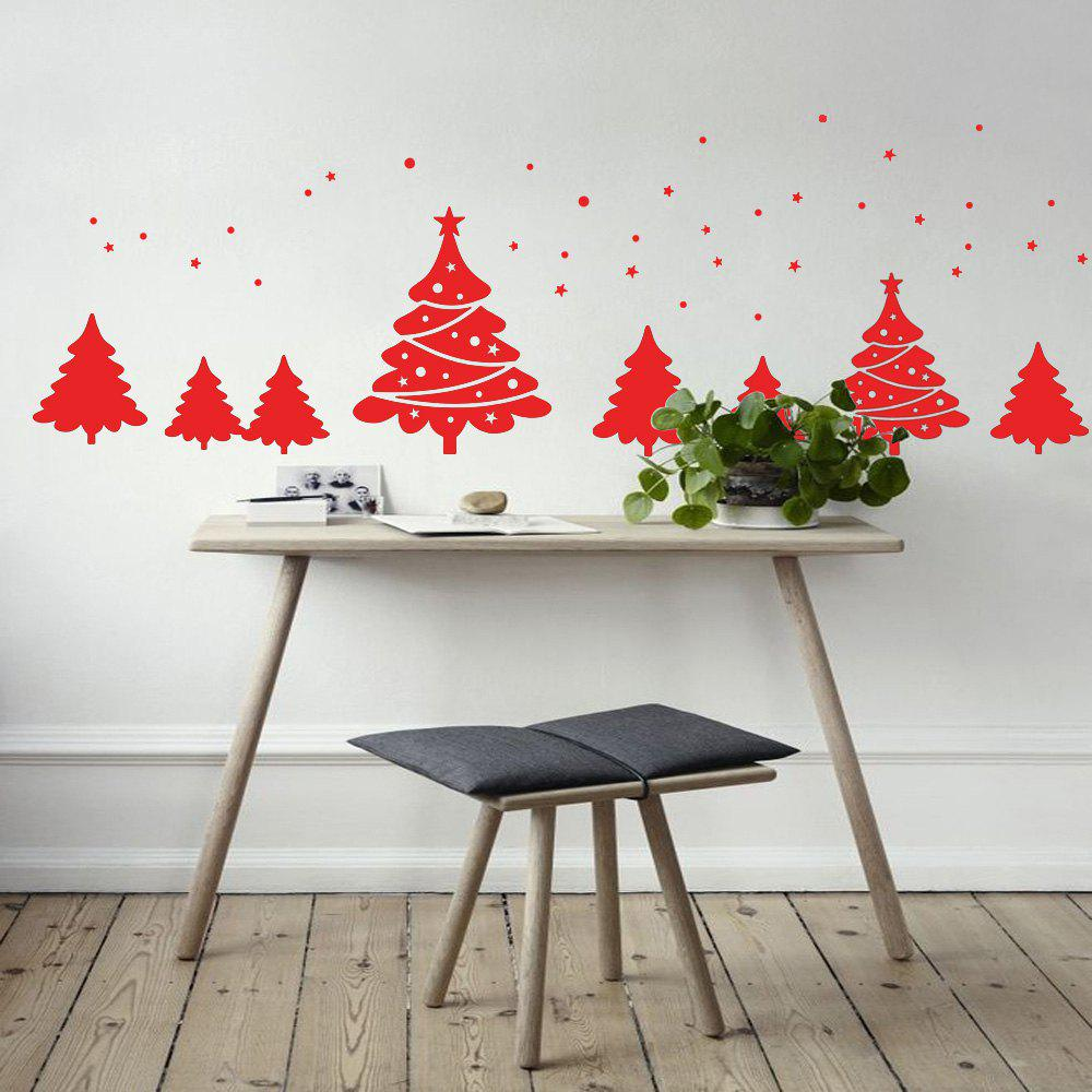 Christmas Tree Pattern Wall Art Sticker - RED 56*31CM