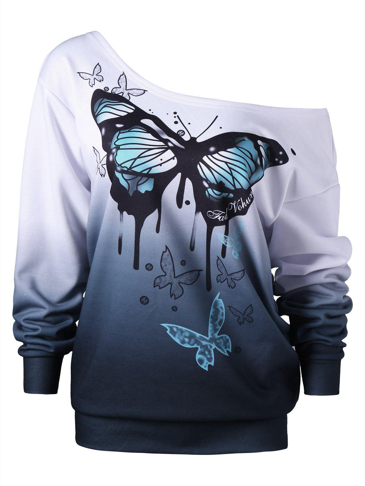 Plus Size Buttterfly Print Skew Neck Sweatshirt - WHITE 5XL