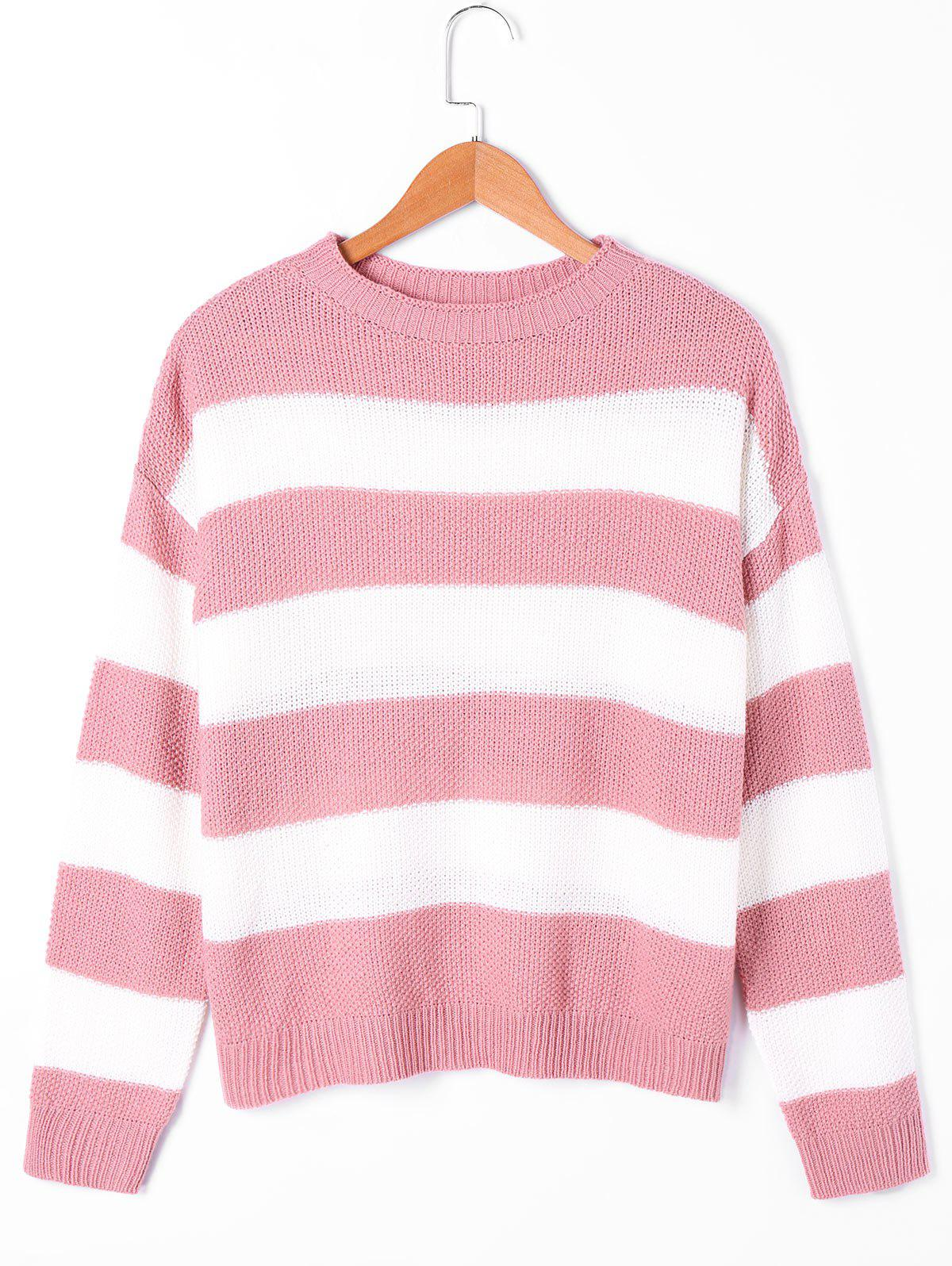 Striped Two Tone Sweater two tone drop shoulder sweatshirt
