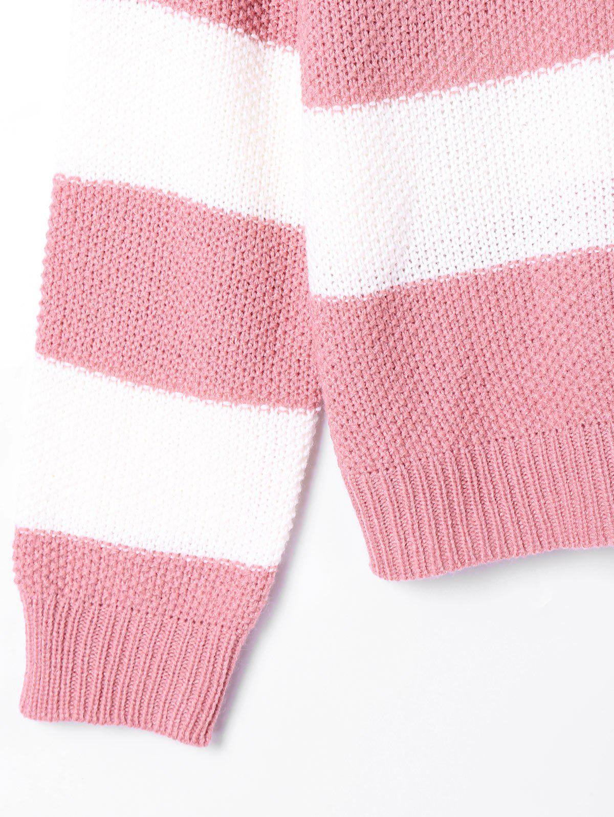 Striped Two Tone Sweater - PINK/WHITE M