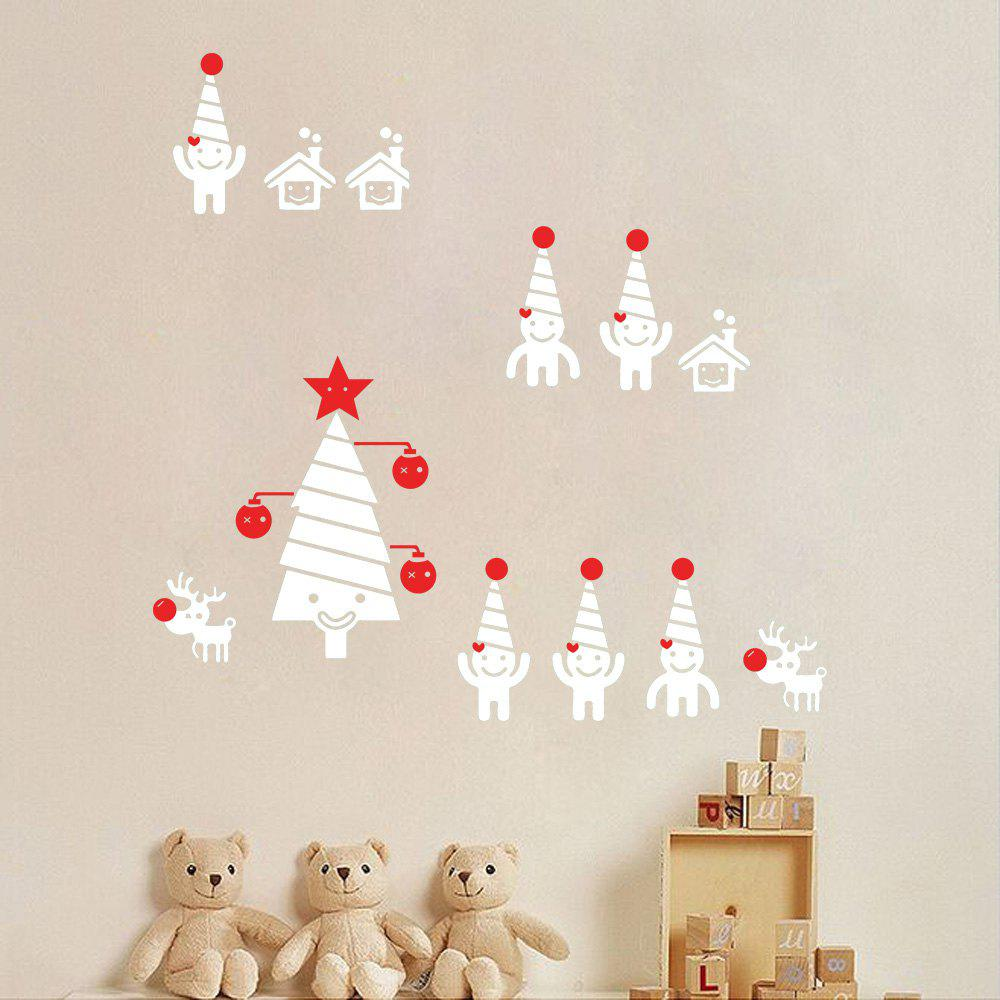 Christmas Tree Snowman Cartoon Wall Art Sticker - WHITE 56*44.5CM