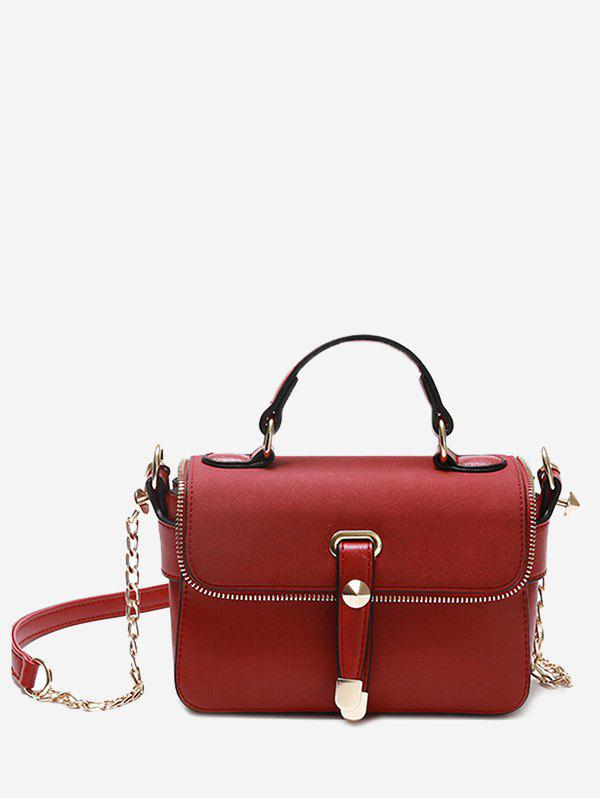 Zip Metal Chain Handbag - RED