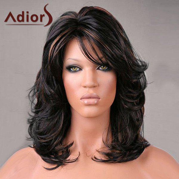 2018 adiors medium oblique bang highlight shaggy slightly curled synthetic wig colormix in. Black Bedroom Furniture Sets. Home Design Ideas