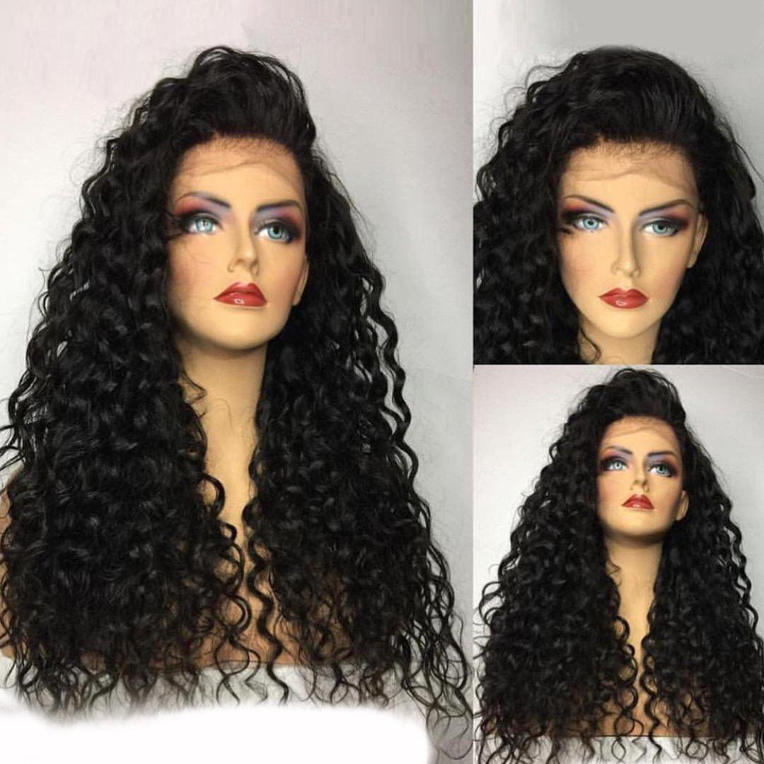 Long Bouffant Free Part Water Wave Lace Front Human Hair Wig - NATURAL BLACK