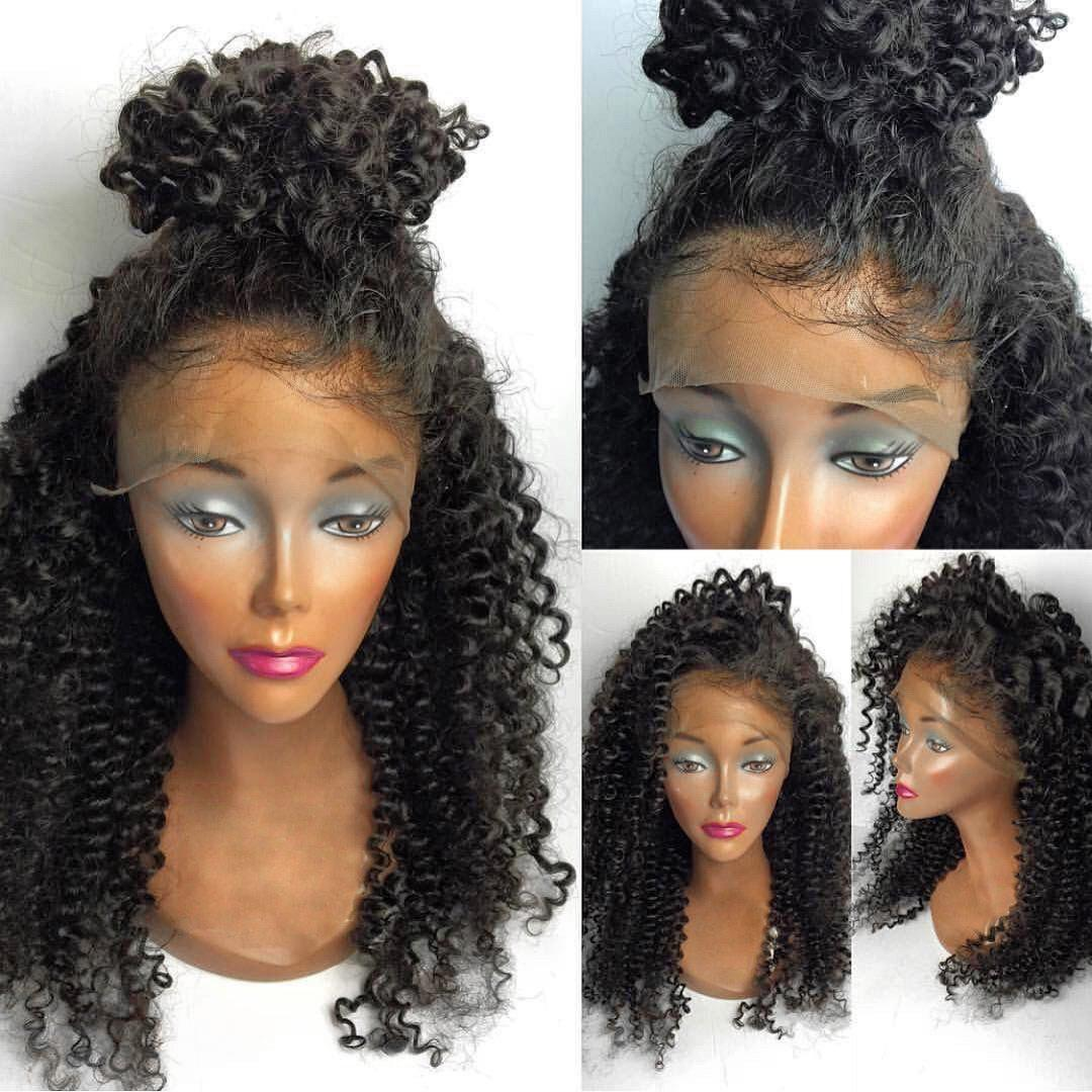 Medium Free Part Fluffy Kinky Curly Lace Front Human Hair Wig - NATURAL BLACK