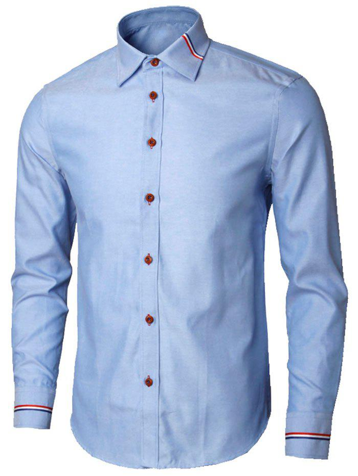 Long Sleeve Stripe Detail Casual Shirt - BLUE L
