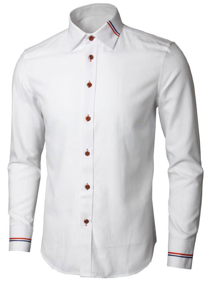 Long Sleeve Stripe Detail Casual Shirt - WHITE L