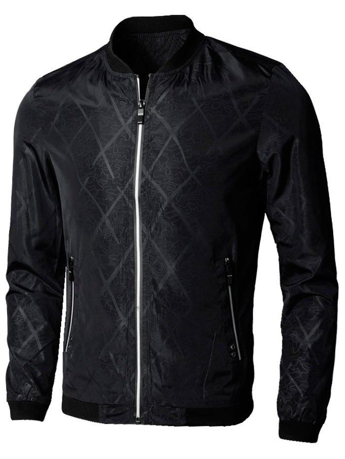 Zipper Up Diamond Bomber Jacket - BLACK 4XL