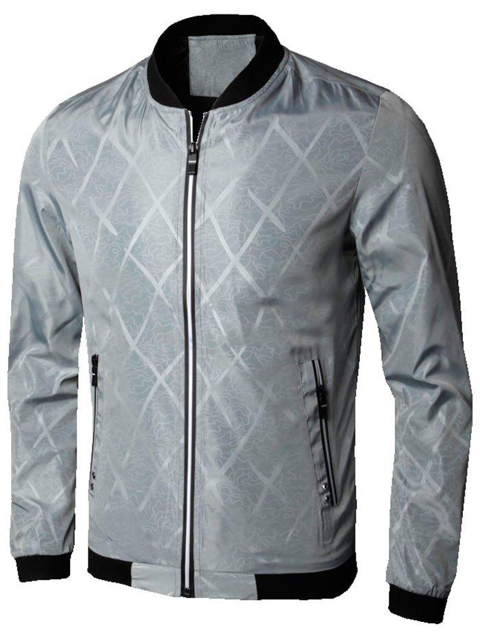 Zipper Up Diamond Bomber Jacket - GRAY 3XL