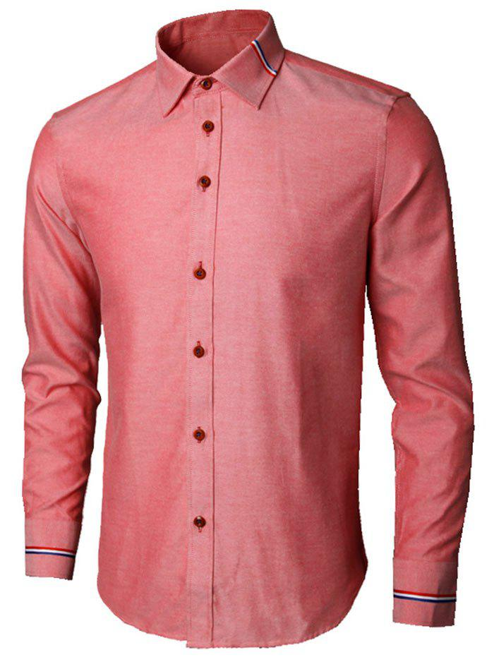 Long Sleeve Stripe Detail Casual Shirt - WATERMELON RED 2XL