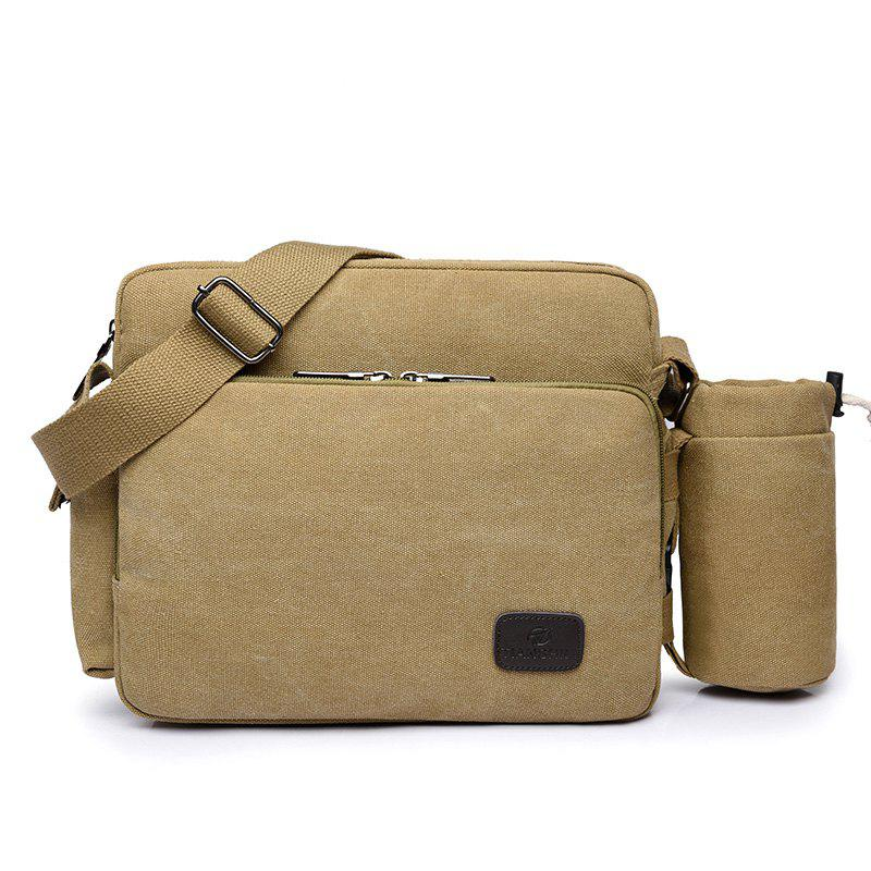 Cup Canvas Multi Function Crossbody Bag - KHAKI