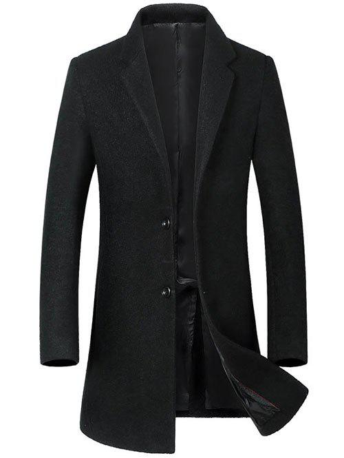 Lapel Collar Single Breasted Wool Blend Coat - BLACK XL