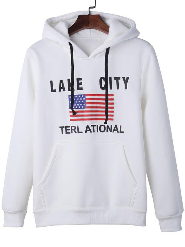 American Flag Graphic Kangaroo Pocket Pullover Hoodie - WHITE 4XL