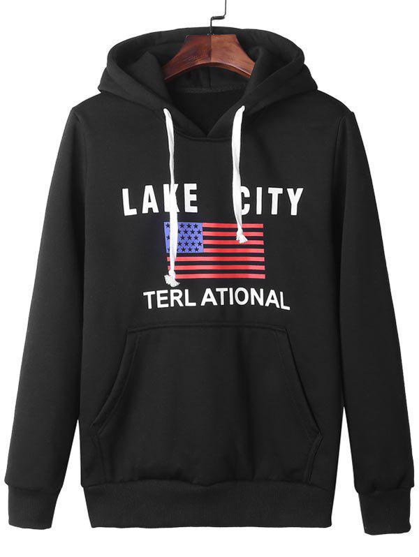 American Flag Graphic Kangaroo Pocket Pullover Hoodie - BLACK 2XL