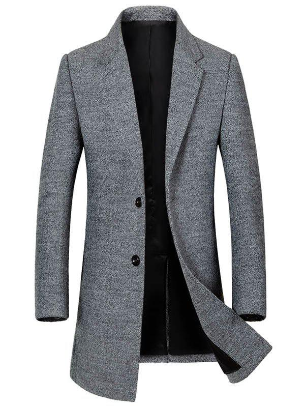 Lapel Collar Single Breasted Wool Blend Coat - GRAY 2XL