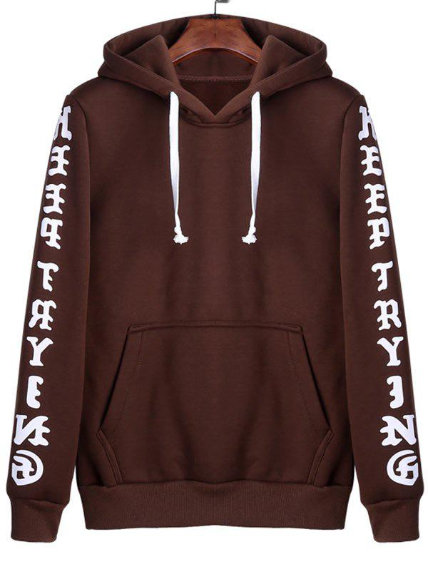 Letters Print Kangaroo Pocket Hoodie - COFFEE 2XL