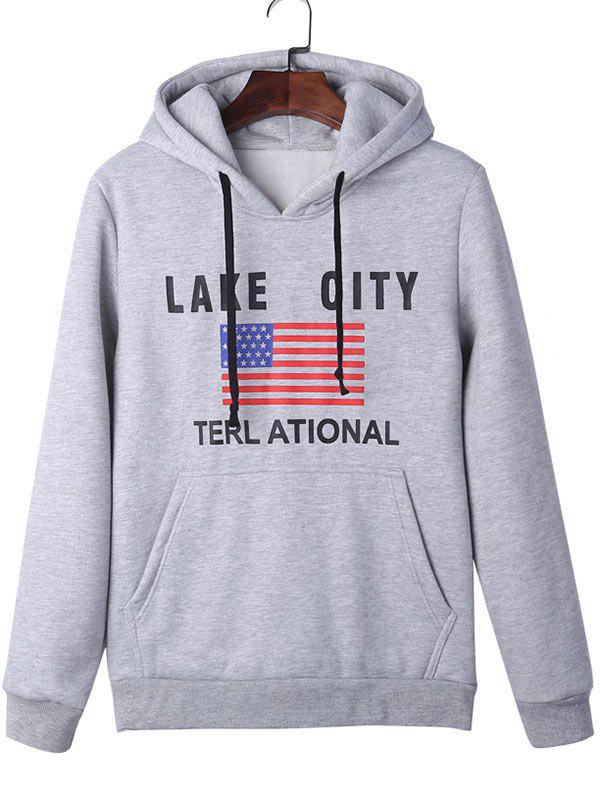 American Flag Graphic Kangaroo Pocket Pullover Hoodie - GRAY XL