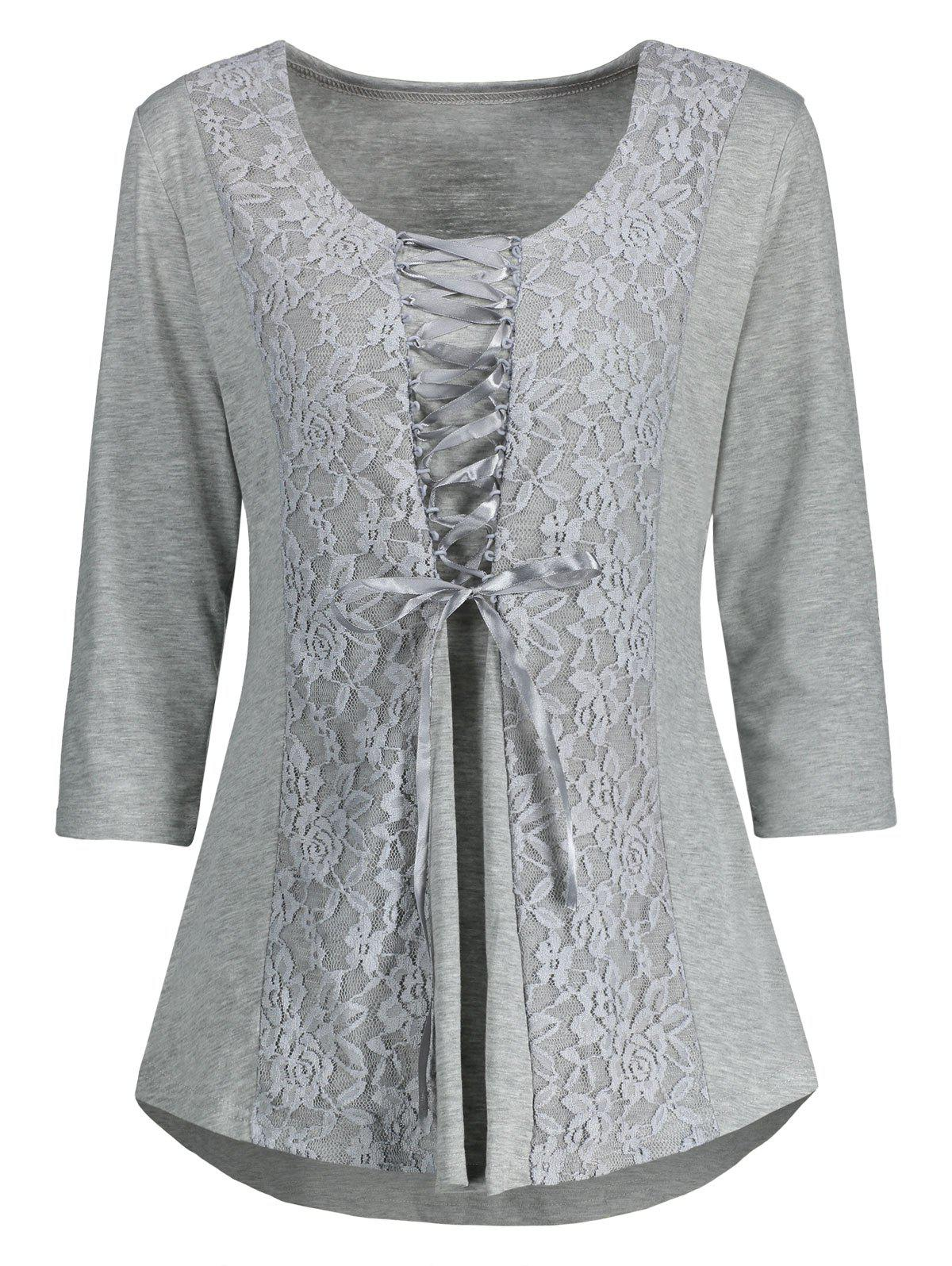 Lace Panel Lace Up Top - GRAY XL