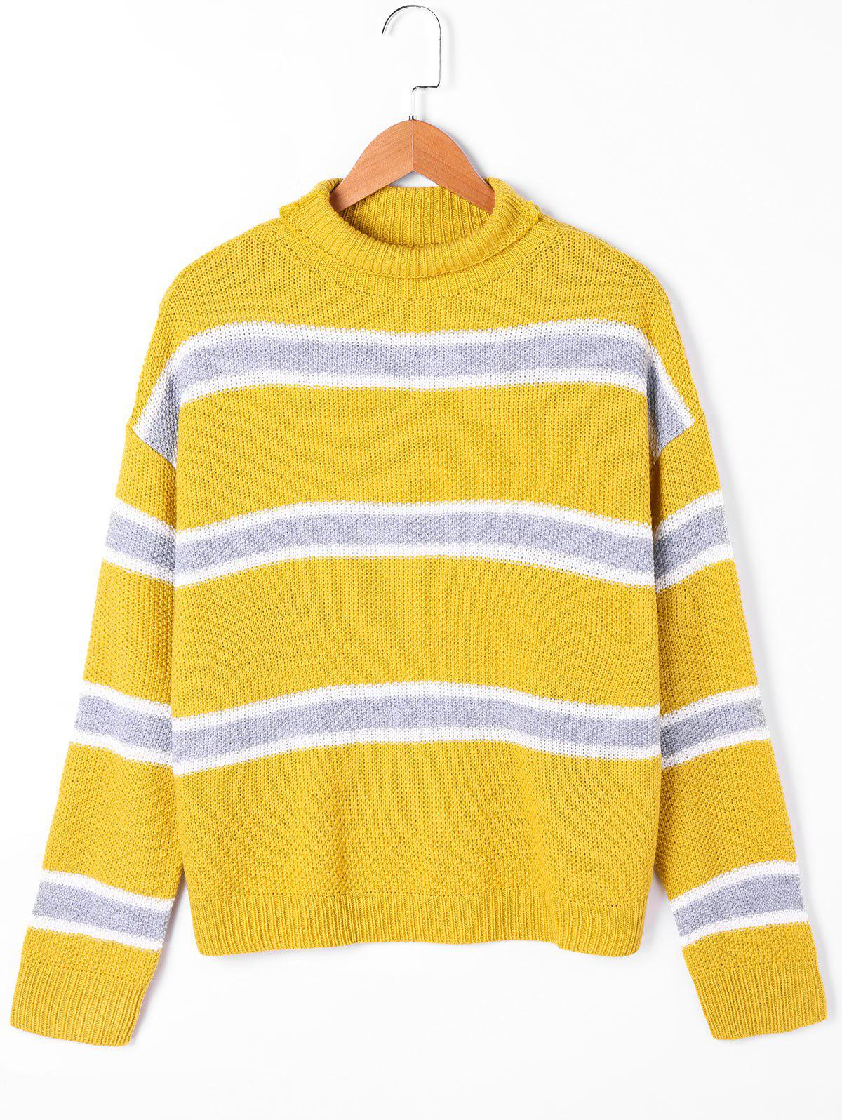 Striped Drop Shoulder Turtleneck Sweater - YELLOW M
