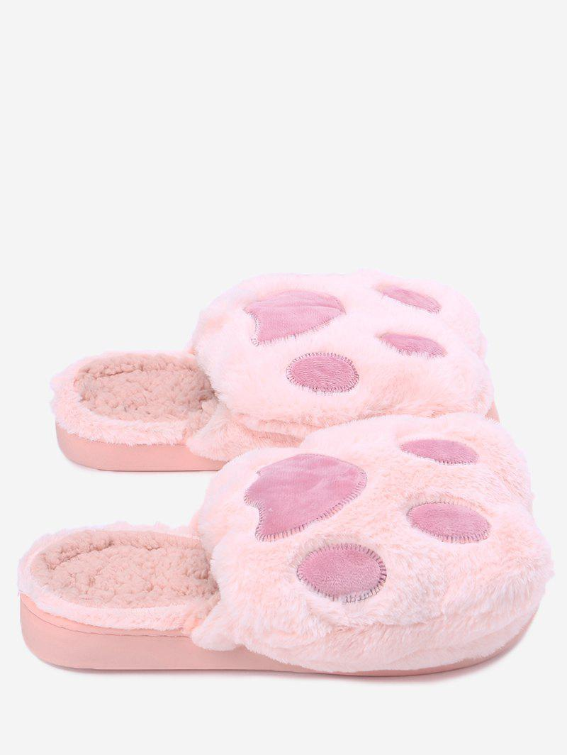 Color Block Furry Slippers - PINK SIZE(38-39)