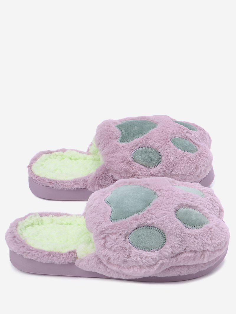 Color Block Furry Slippers - PURPLE SIZE(40-41)