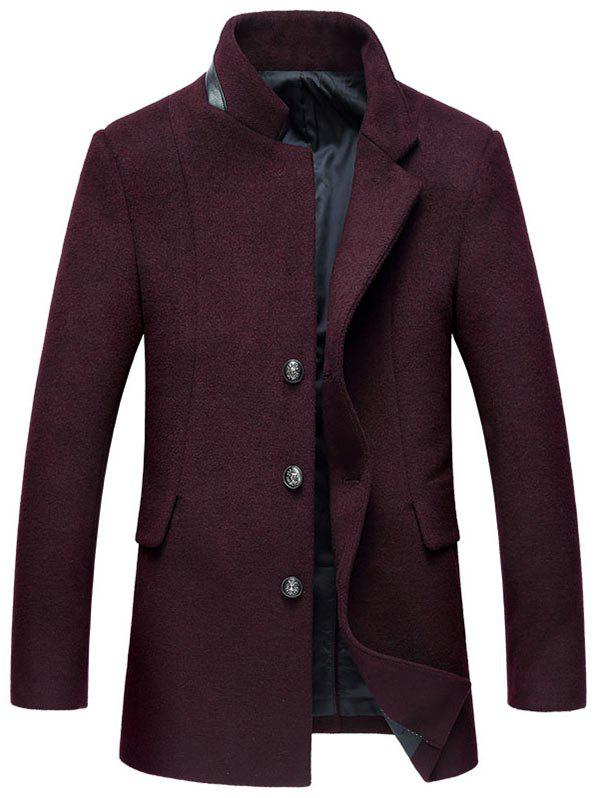 Wool Blend Mock Pocket Mandarin Collar Coat - WINE RED XL