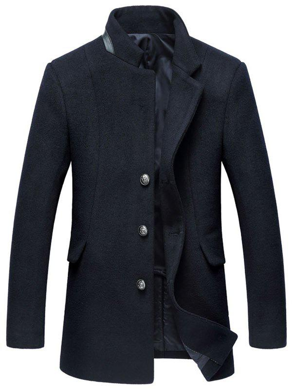 Wool Blend Mock Pocket Mandarin Collar Coat - PURPLISH BLUE M