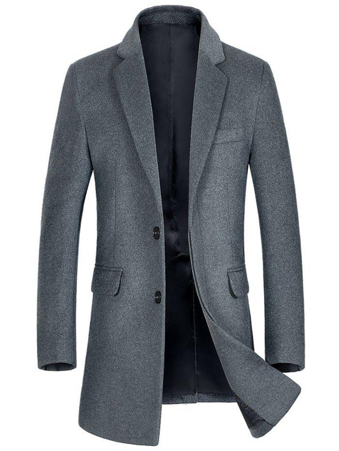 Wool Blend Flap Pocket Single Breasted Coat - GRAY M