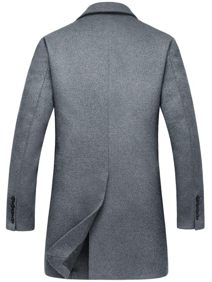 Wool Blend Flap Pocket Single Breasted Coat - GRAY 3XL