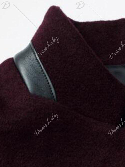 Wool Blend Mock Pocket Mandarin Collar Coat - WINE RED M