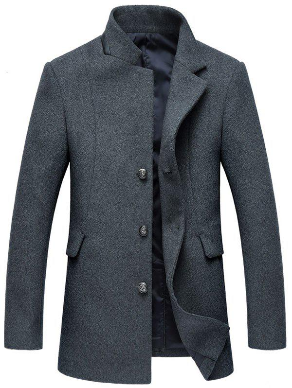 Wool Blend Mock Pocket Mandarin Collar Coat - GRAY XL