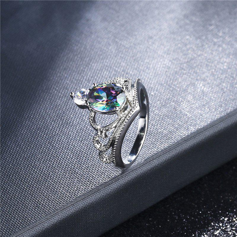 Faux Crystal Gem Oval Sparkly Ring - Argent 7